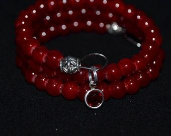 Beaded Bangle Wrap Bracelet July Birthstone With Siam Channel Drop