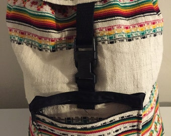 Rasta Beach Bag, Backpack. White/Red Color.