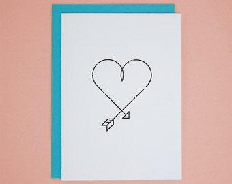 Arrow Heart / Letterpress Card