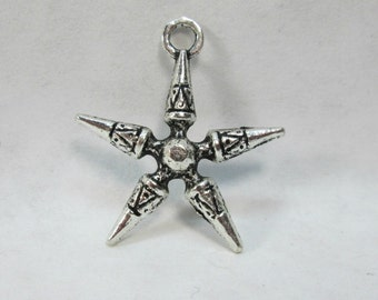 Bali Style Star Pendant Bead, Silver Plated Earring Charm 30mm