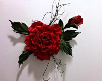 Red Rose Fantasy Flower Leather Brooch.