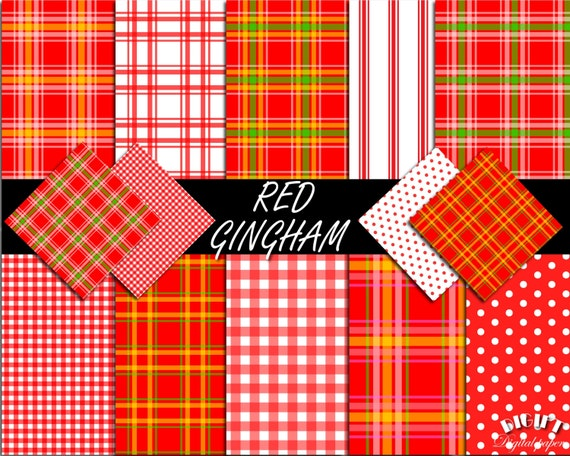 Red Gingham digital paper square decal Red gingham party Red gingham fabric print Red gingham invitation Gingham sheets Red gingham banner