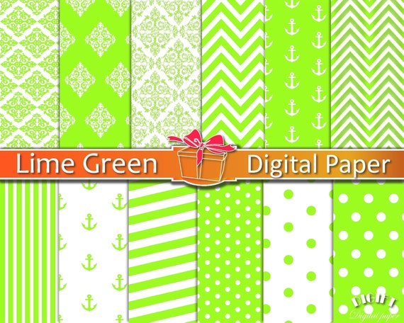 Lime green digital paper Lime green decor Lime green fabric prints Green chevron Lime green polka dot wedding invitation Lime party supplies