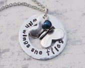 With wings she flies - Butterfly necklace - Washer necklace - Birthstone jewelry - Inspirational quote - Hand stamped jewelry