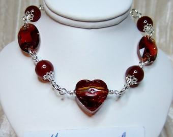Swarovski crystal and carnelian bracelet