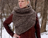 Katniss inspired post apocalyptic huntress cowl vest shawl sweater in light brown READY TO SHIP