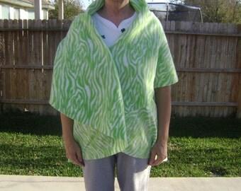 Green Tiger Strip Fleece Wrap