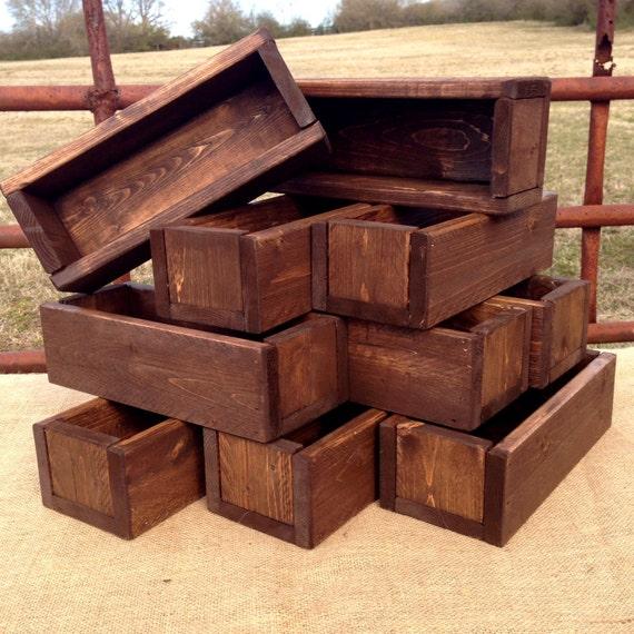 Wedding centerpiece set of planter box dark walnut