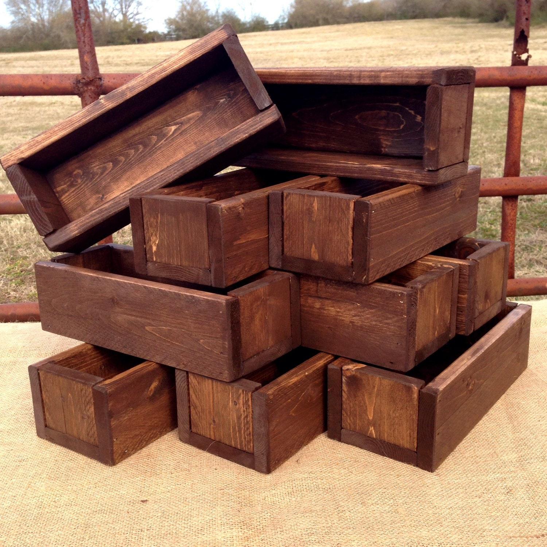 Wedding Centerpiece Set Of 10 Planter Box Dark Walnut