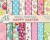 Digital Happy Easter Paper Pack, 16 printable Digital Scrapbooking papers, Easter Digital Collage, pink clipart, Instant Download, set168