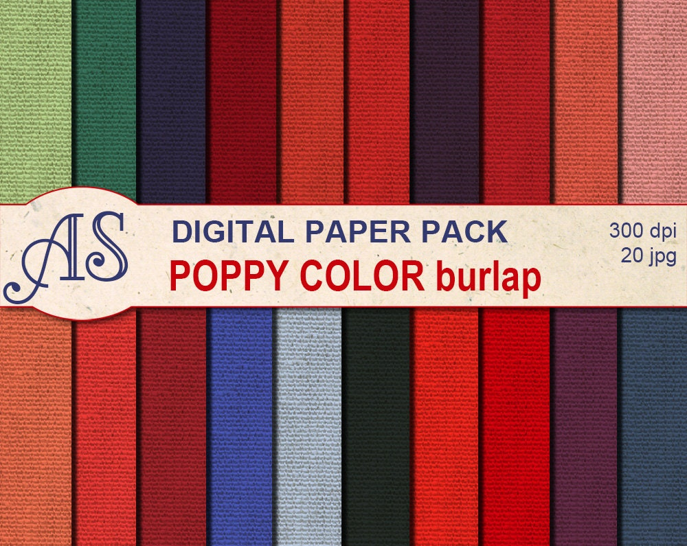 How to scrapbook like poppy - Digital Poppy Color Burlap Paper Pack 20 Printable Digital Scrapbooking Papers Red Fabric Digital Collage Instant Download Set 138