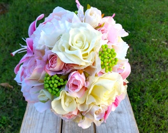 Wedding Bouquet Pink White Bridesmaid Bouquet with Real Touch Roses, Peony, Lily Berries and Hydrangea