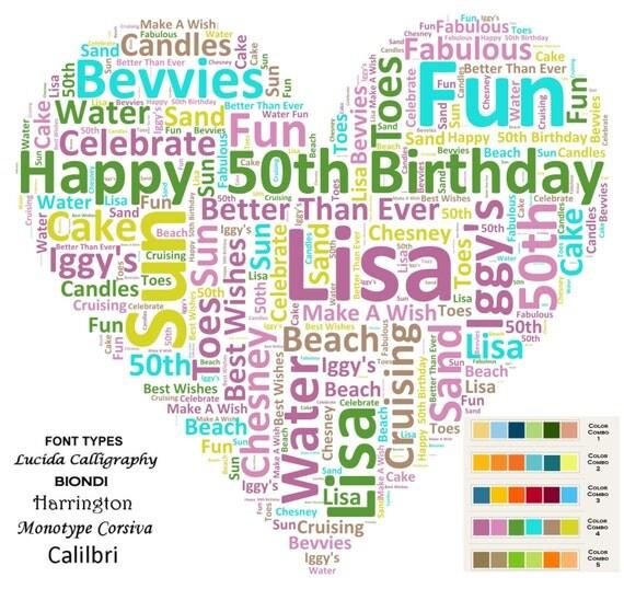 CUSTOM 50th Birthday Love Gift Heart Word Cloud Art 8 X 10