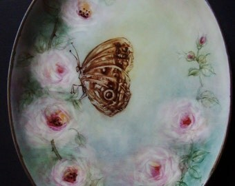 Hand Painted Porcelain Plate - Butterfly and Roses