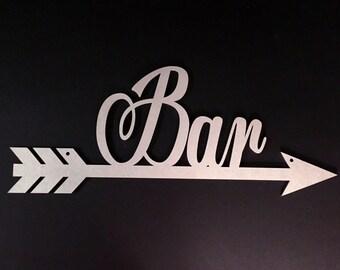 Bar Arrow, Bar Sign, Drinking Sign, Party Sign, Wedding Sign, Reception Sign, Directional Sign, Direction Sign