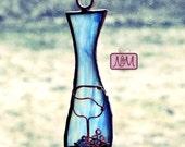 Stained Glass Ornament, Wine Bottle Ornament, Suncatcher, Sun Catcher, Whimsical, Blue, Glass Art, Novelty