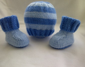 Baby Hat - Baby Booties - Hand Knitted Baby Set- Handmade- 0/3 MTHS