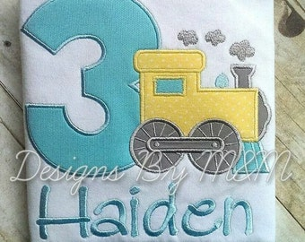 Personalized Train Birthday Shirt/ Bodysuit with Number in ANY color scheme