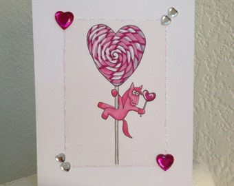 Pink Pony Pole Dancing on Lollipop Valentine's Day Card