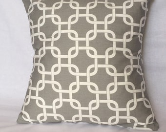 Gray and White Lattice Pillow Cover