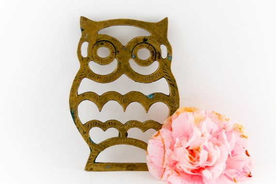 Items Similar To Brass Owl Trivet Vintage Owl Decor 70s Retro Mod Kitchen Wall Hanging On Etsy