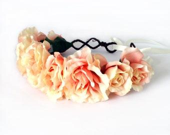 Peach Rose Floral Crown Boho Headband, Festival Headband, Wedding, Races