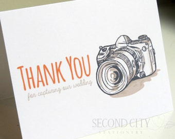 Wedding Card for Your Photographer or Videographer On Your Wedding Day - Thank You For Capturing Our Wedding - V001
