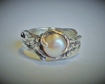Fresh water pink pearl ring, wedding ring, engagement ring, sterling silver ring