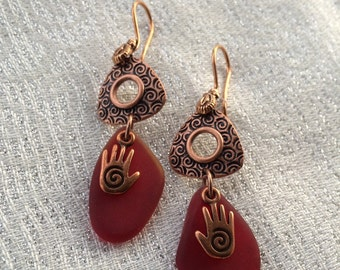Red and Copper Hand Earrings