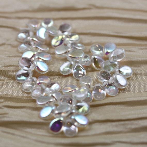 Pip Beads 50pcs 5x7mm Pale Green Rainbow Pips Czech Glass