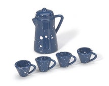 Miniature Coffee Pot Cups Dollhouse Supply 5 Pieces Blue Spatter Ware Pattern Set of 5 Pieces