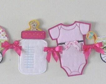 Baby Shower Banner/Garland, Carriage-Bottle-Undershirt Banner, Photo Prop, Baby Decoration