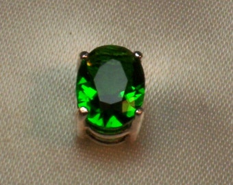 Mens Created Green Emerald Sterling Silver Faceted Gemstone Tie Tack Pin Free Shipping