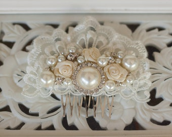 Bridal Hair Accessory, Rhinestone and Pearl  Wedding Hair Comb, Bridal hairpiece