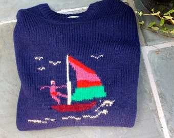 Vintage SAILING Sweater Mens or Womens Wool WIND SURFER Sweater Outdoors Beach Bum Wind Surfer Nautical Sweater
