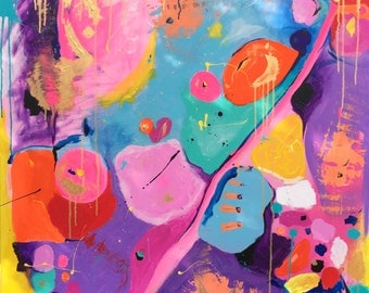 Abstract 36 x 36 Original acrylic painting on stretched canvas. Neon Pink, Blue, Purple, Red, Orange, Green, Gold