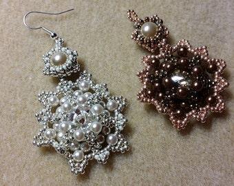 Orecchini neve, con cristalli Swarovski e perle