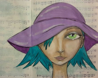 Mixed Media Original Art Print - Green eyed girl with a floppy purple hat!