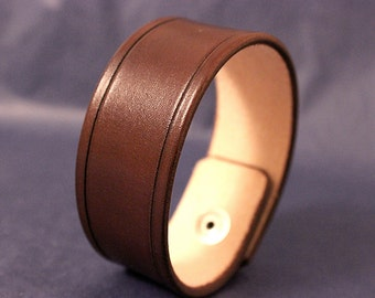 Leather Cuff Bracelet Brown 1.25 Inch wide