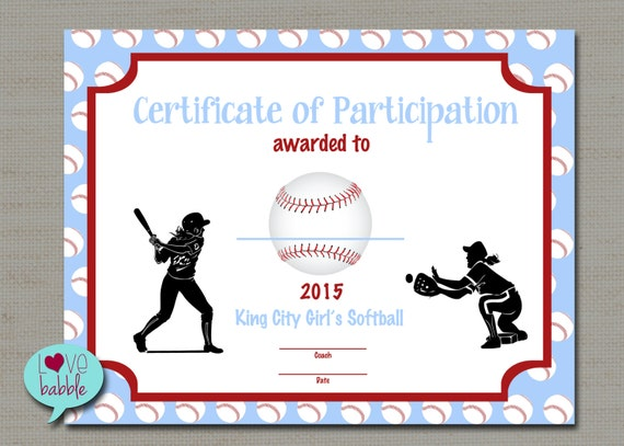 sports day certificate templates free - girls softball baseball t ball award certificate printable