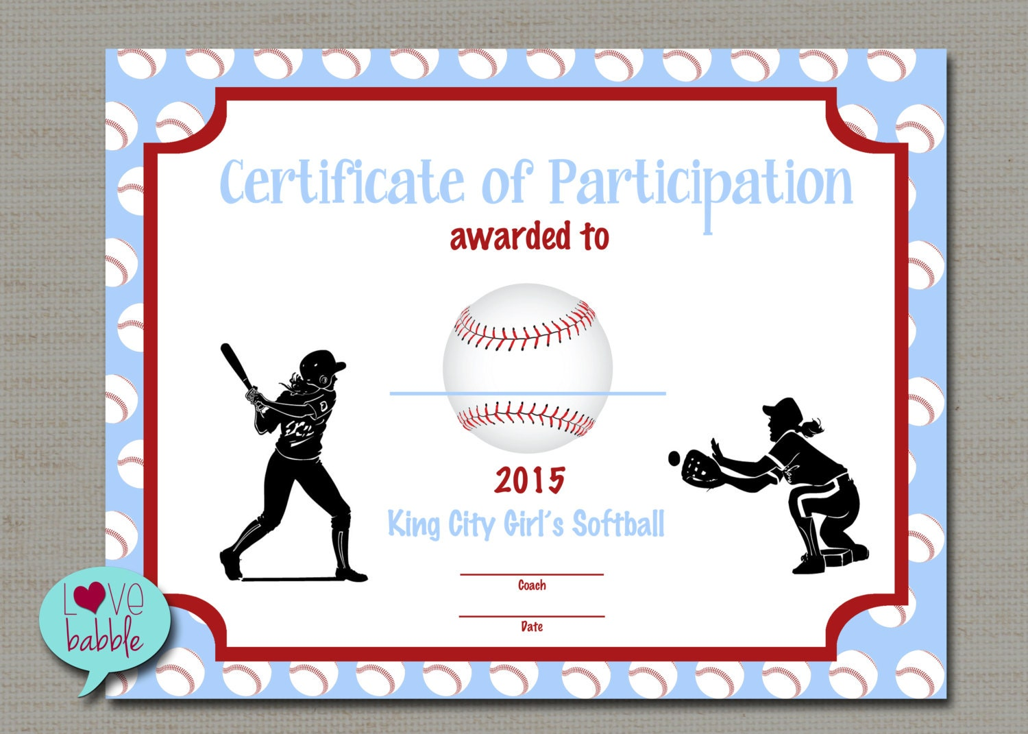 Girls softball baseball t ball award certificate printable zoom pronofoot35fo Choice Image