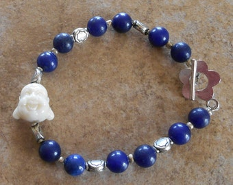 Hotai Buddha bracelet with blue stone beads