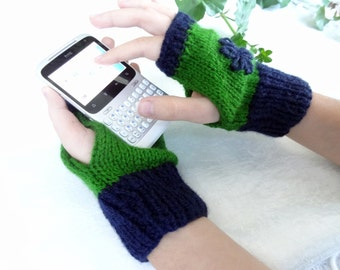 Blue,Green Knit Fingerless Gloves,  Warm Winter Accessory, Lady Fingerless Gloves, Embroidered Gloves