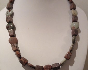 Necklace. 48cm Gemstone coin beads . Ivory and beige with   brown patternsGemstone Nuggets.