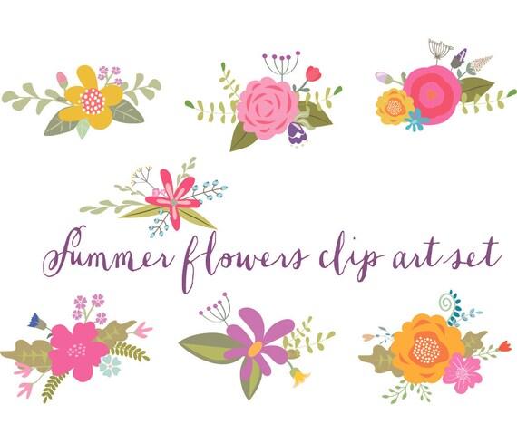 summer flowers bright Floral clip art wedding clipart