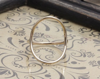 14 k gold filled big open oval smooth band ring, wedding gift, bridesmaid ring