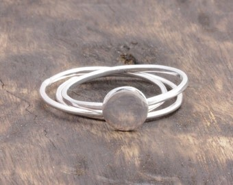925 stering silver full moon ring with 2 pcs simple rings , circle ring (E_00039)