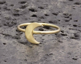 925 vermeil gold simple crescent moon ring , half moon ring (R_00012)