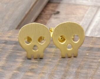 vermeil gold happy skeleton stud earrings