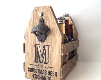6 pack carrier, wood beer holder, wood six pack, craft beer carrier, hostess gift, wood hostess gift, personalized beer caddy, personalized